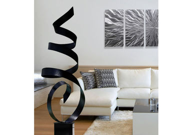Modern Abstract Painted Metal Ribbon Sculpture For Interior Decoration