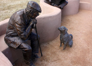 China Old Man And Dog Bronze Statue For Home Garden Public Decoration factory