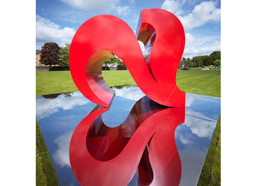 Red Color Painted Modern Garden Sculptures City Decoration Stainless Steel Heart Shaped
