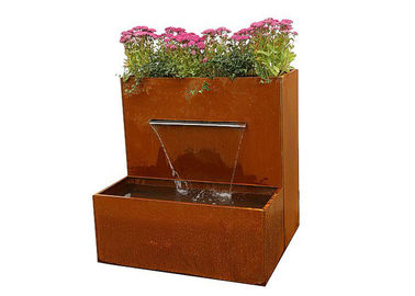 China Waterfall Herb Planter Corten Steel Water Feature For Outside Garden Decor factory
