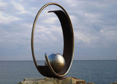 Stainless Steel Outdoor Garden Sculpture Public Art Sculpture With Sphere