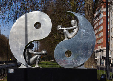 Public Art Modern Stainless Steel Sculpture , Yin And Yang Sculpture For Garden
