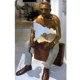 Interior Landscape Design Life Size Bronze Sitting Man Sculpture