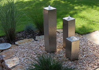 Square Cylinder Cascading Garden Water Fountain Feature Of Stainless Steel