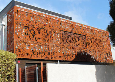 Laser Cut Corten Steel Panel / Screen Wall Mounted Metal Sculpture Rusty Naturally