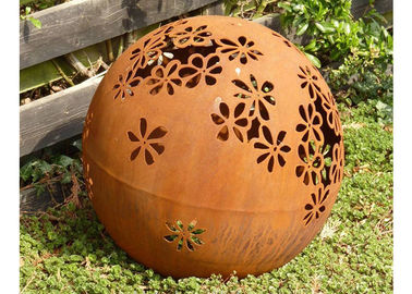 China Metal Garden Landscape Corten Steel Ball Sculpture Outdoor Spheres Corrosion Stability factory