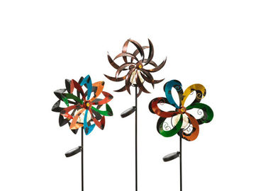 Outdoor Stainless Steel Garden Sculptures Colorful Spinner Kinetic Wind Sculpture