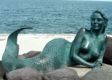 Decoration Mermaid Outdoor Bronze Garden Sculpture 200cm Length OEM Available