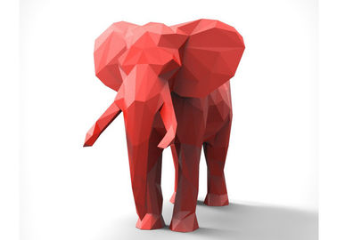 Red Decoration Painted Metal Sculpture , Modern Steel Elephant Sculpture