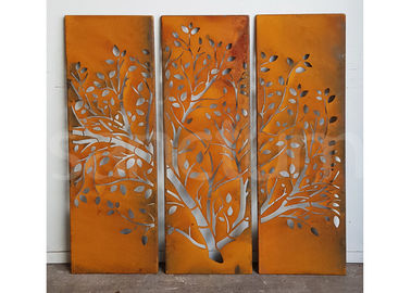 Outdoor Metal Wall Art Sculpture Rusty Corten Steel Screens / Panels