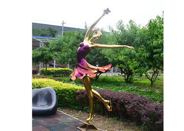 China Titanium Plated Life Size Stainless Steel Sculpture Fabrication Of Dancing Girl Statue factory
