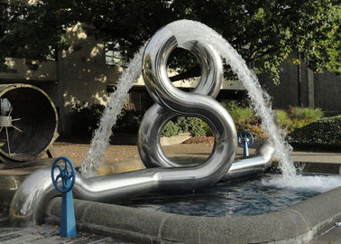 8 Shape Modern Stainless Steel Sculpture Fabrication Outdoor Water Fountain