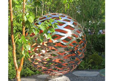 China 150 Diameter Stainless Steel Ball Sculpture Polished Metal Hollow Sphere For Garden factory