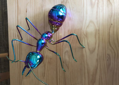 China Colorful Table Decor Metal Ant Sculpture Stainless Steel Titanium Craft factory