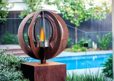 China Garden Decorations Contemporary Corten Steel Sculpture Fire Pit for Outdoor factory