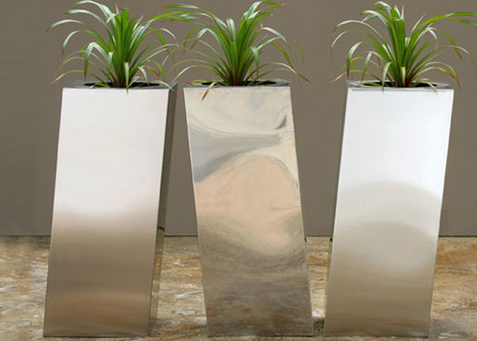 Modern Stainless Steel Cube Planter , Stainless Steel Indoor Planters