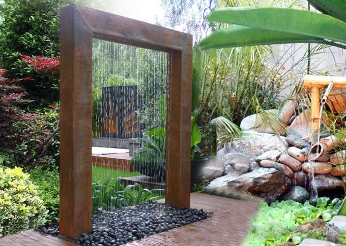 Corten Steel Rain Curtain Water Feature Water Curtain Fountain Different Sizes 0