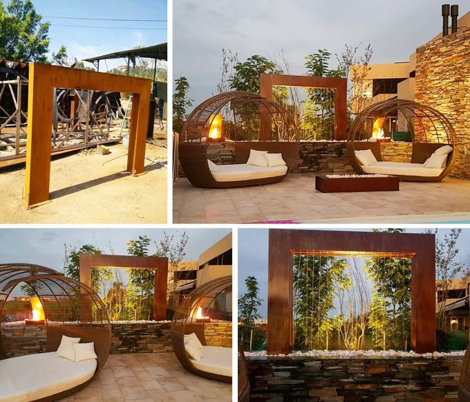 Corten Steel Rain Curtain Water Feature Water Curtain Fountain Different Sizes 1