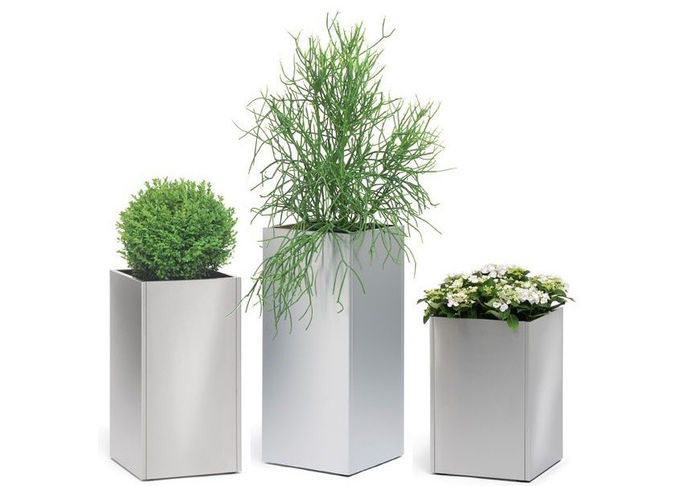 Acid Resistant Brushed Stainless Steel Planters For Indoor / Outdoor 2MM Thickness