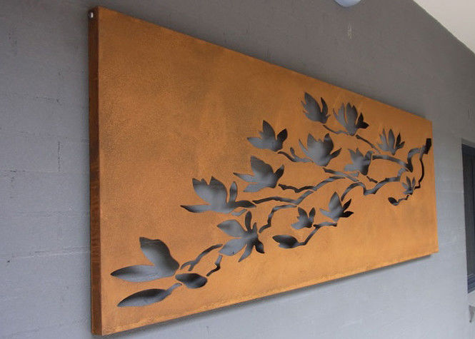 Laser Cut Corten Steel Metal Wall Art Trees And Fence For Outdoor / Indoor
