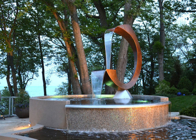 Contemporary Corten Steel Water Feature Fountain C Shape For Outdoor