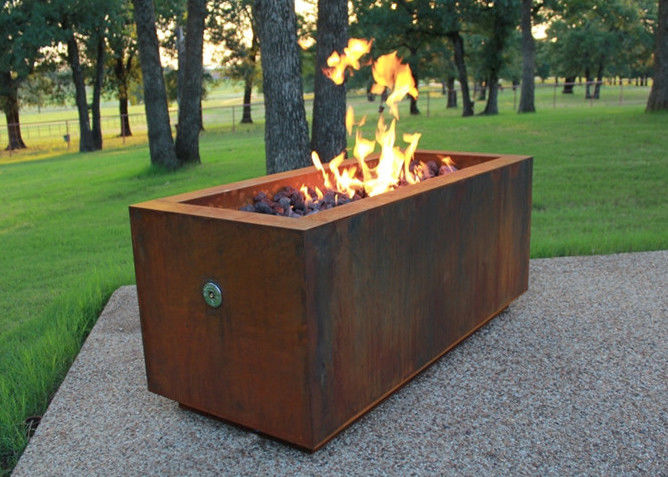 China Rectangular Shape Corten Steel Fire Pit For Patio Heating Weathering  Resistant supplier - Rectangular Shape Corten Steel Fire Pit For Patio Heating Weathering