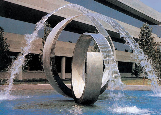 Double Arc Large Stainless Steel Water Features For Pools Brushed Finishing