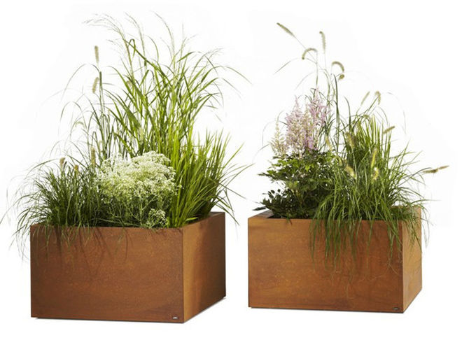 Contemporary Metal Planters Large Flower Pots Corten Steel Material