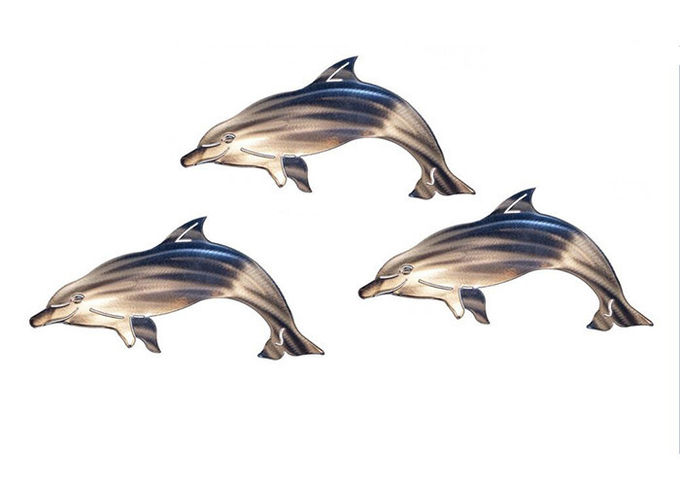 Custom Delighted Metal Dolphin Wall Hanging , Dolphin Wall Sculptures Stainless Steel