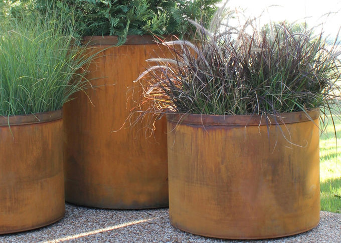 Landscape Rusty Round Corten Steel Planters Boxes For Plaza Waterproof