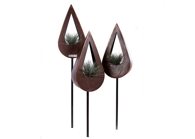 Contemporary Corten Metal Planters , Corten Steel Trough Planter Attractive Design