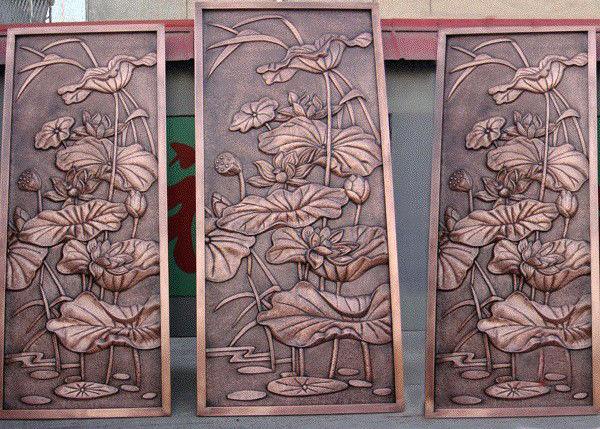 Bronze Lotus Flower Bas Relief Plaques For Public Wall Art Decoration