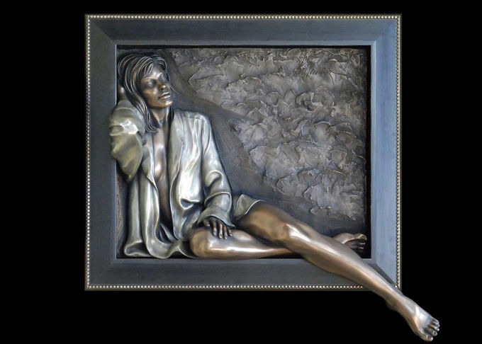 Decorative Sexy Woman Statue , Art Work Bronze Charismatic Relief 150*150cm