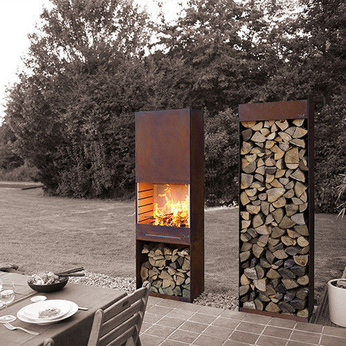 Yard / Garden Cast Iron Fire Pot , Corten Steel Fire Pit Wood Burning Fireplace