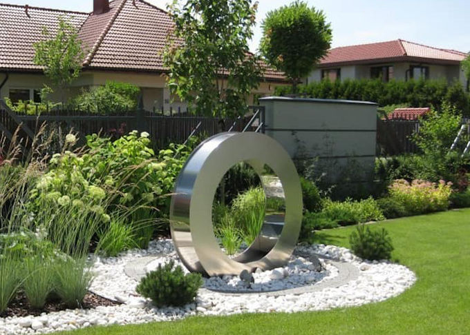 Brushed Finish Stainless Steel Water Feature , Outdoor Water Fountains